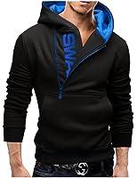 Zacoo Herren Slim Warmer Kapuzen Pullover Zipper Jacken Größe XXXXL Schwarz&Blau