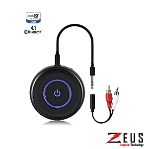 Zeus Kairos Bluetooth 4.1 Transmitter and Receiver - 2 in 1 3.5mm AUX Audio Adapter for Home TV, PC, Headphones, Speakers & Car Stereo System