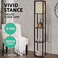 Artiss Floor Lamp Wood Shelf Modern Living Bedroom Lighting Storage Organizer Brown