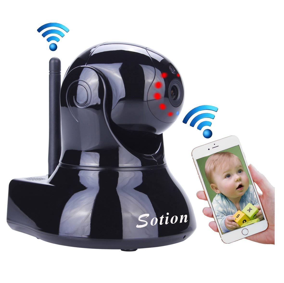 Baby Monitor, Remote Video Baby Monitor with Camera, Two Way Talk, Night Vision and Motion Detection. Pet Camera, Wireless WiFi Surveillance Security Camera with Pan and Tilt for Home and Business