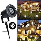 Outdoor Chritsmas Decorations LED Snowflake Projector Lights White Holiday Snowfall Waterproof Landscape Lights for Halloween Garden House Party Wedding Lawn Disco Xmas Decorations