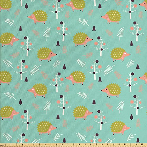 Leafless Tree Branches (Hedgehog Fabric by the Yard by Ambesonne, Scandinavian Art Pattern Forest Elements Pine Trees Leafless Branches Countryside, Decorative Fabric for Upholstery and Home Accents, Multicolor)