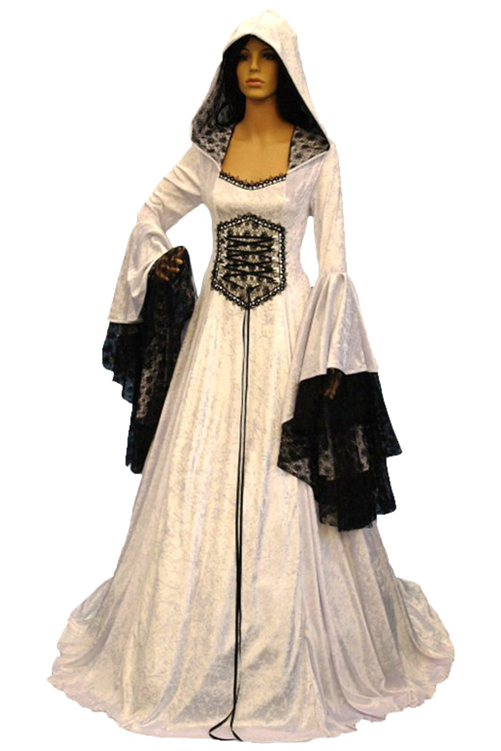 Dark Paradise Medieval Gothic Vintage Lace Splicing Lace Up Corset White Hooded Dress Gown