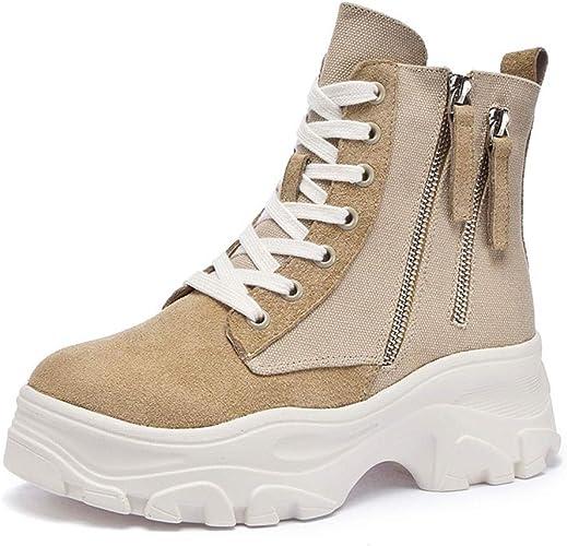 Novedad! Botines de Cuero de Mujer, zapatillas de plataforma