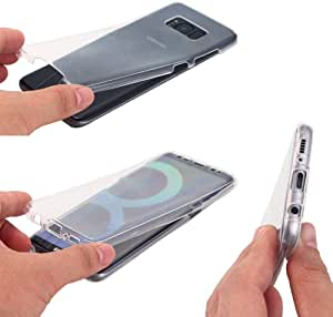 حافظة هاتف سامسونج جالكسي اس 8 بلس بحماية كاملة 360 درجة من السيليكون الناعم والجهة الامامية من البولي يوريثين الحراري والخلفية من البلاستيك الصلب شفافة فائقة الرقة وحامية - لون شفاف