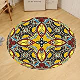 Gzhihine Custom round floor mat Oriental Middle Orient Eastern Ethnic Islamic Different Floral Swirl Detailed Image Artwork Bedroom Living Room Dorm Multicolor