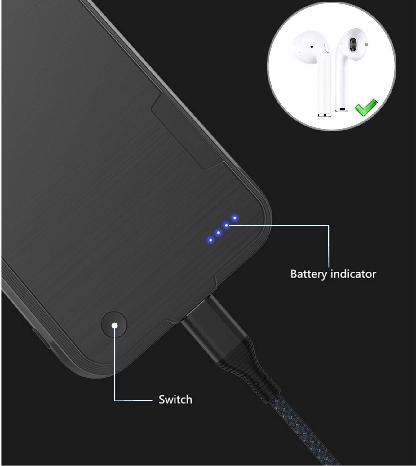 Paditech 4000mah Akku Hlle Fr Iphone X Elektronik Flat Battery Indicator