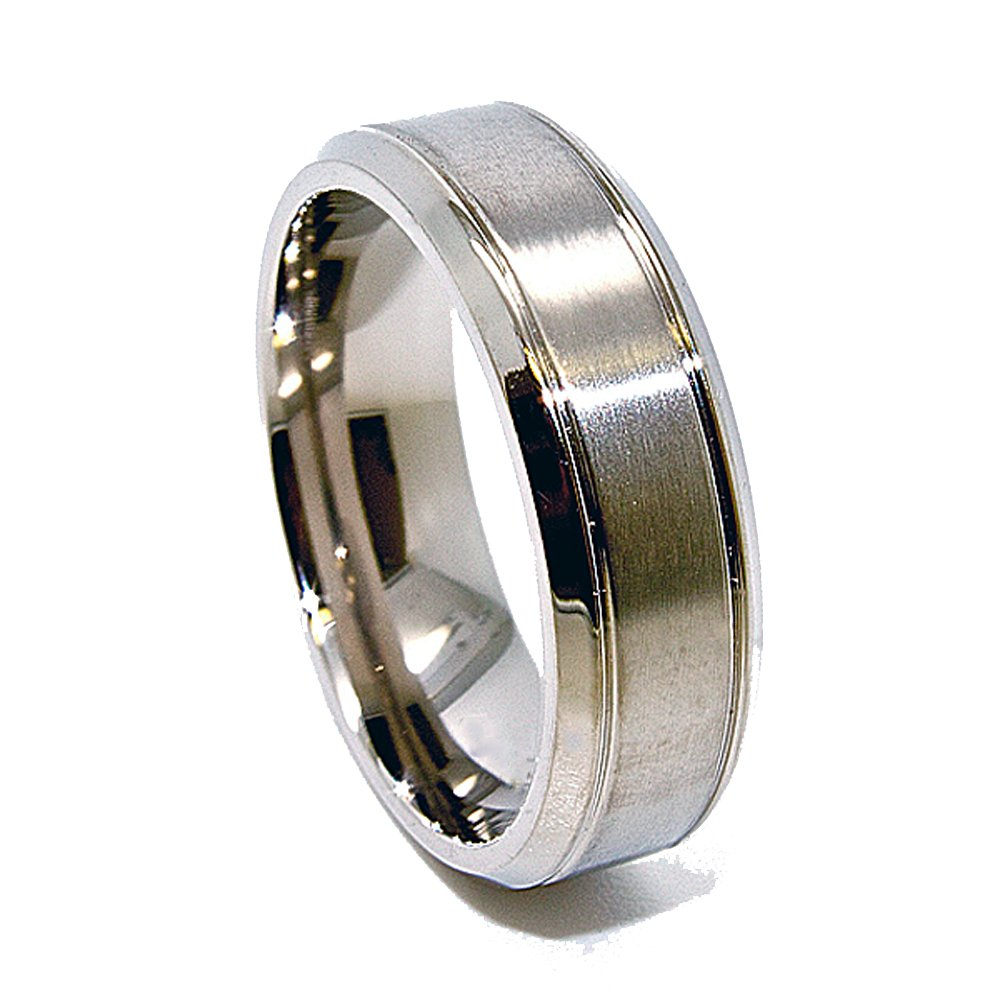 Unique 7mm Titanium Ring with Brushed Satin Middle Wedding Band Engagement Fashion Jewelry Gift Size 6