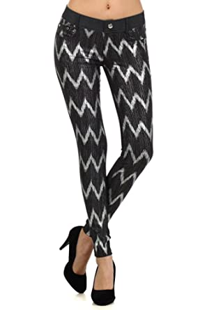 11a3806da649c Fashion MIC Womens Stretchy Checkered Jeggings and ZigZag Jeggings ...