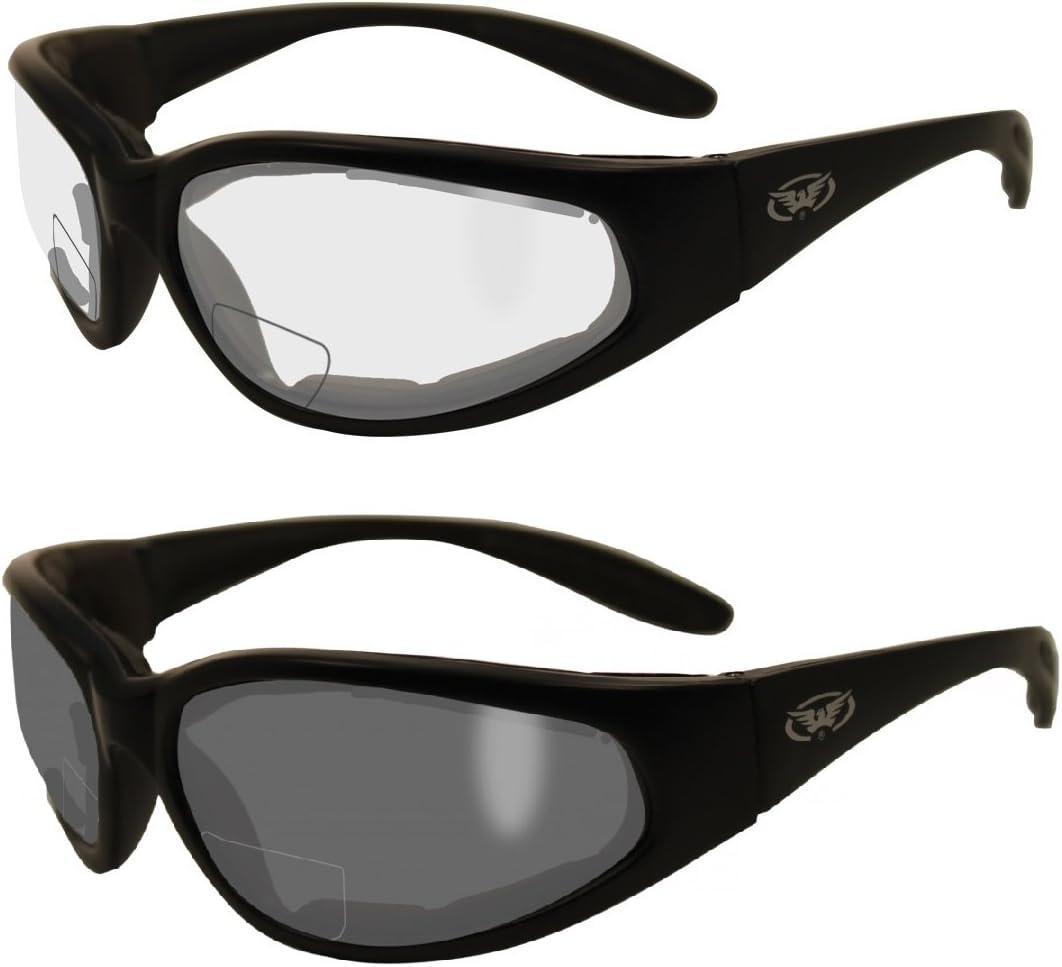 2 Pairs - 2.5 Bifocal Global Vision Eyewear Hercules Anti-fog Safety Glasses with EVA Foam (1 Clear, 1 Smoke)