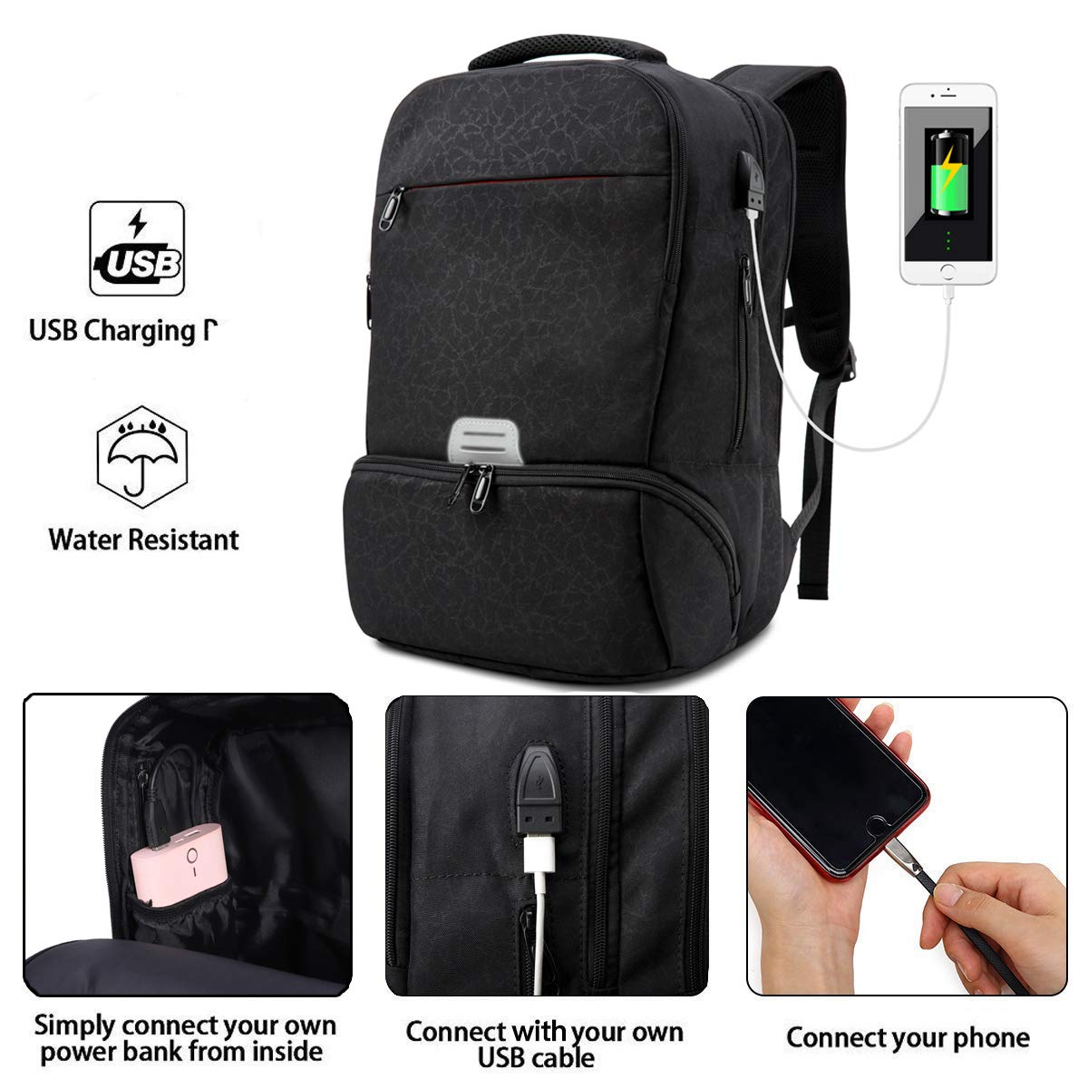 Zaino per PC Portatile con USB Porta Zainetto da Viaggio Business Scuola Borsa Impermeabile Universitaria Daypack