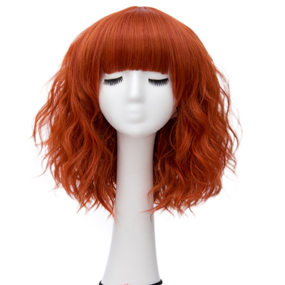 Alacos Fashion 35cm Short Curly Bob Anime Cosplay Wig Daily Party Christmas Halloween Synthetic Heat Resistant Wig for Women +Free Wig Cap (Dark Orange Brow-Skimming Bangs)