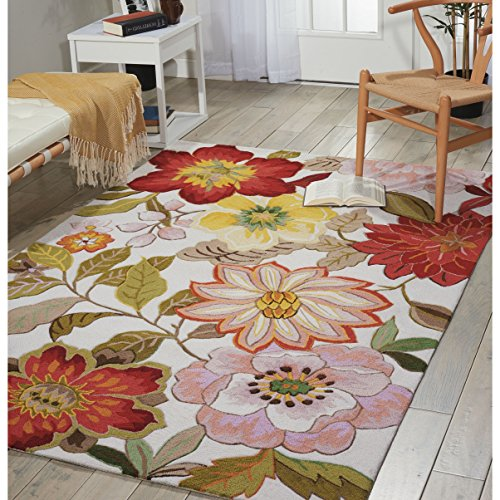 5' x 7'6 Hand Hooked Tropical Floral Paradise Patterned Area Rug, Featuring Bold Bright Flowers Themed, Rectangle Indoor Bedroom Living Area Bedroom Hallway Carpet, Nature Lovers Design, Multicolor
