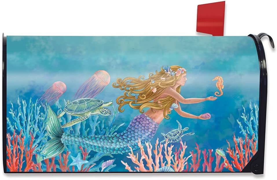 Briarwood Lane Mermaid Summer Magnetic Mailbox Cover Nautical Fish Standard