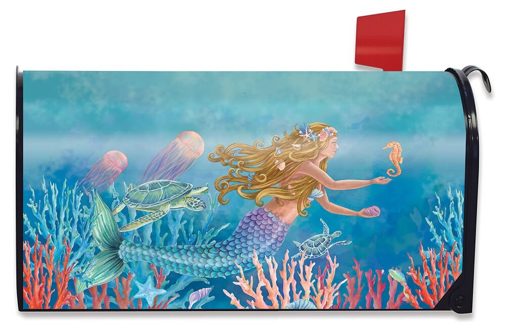 Briarwood Lane Mermaid Summer Magnetic Mailbox Cover Nautical Fish Standard
