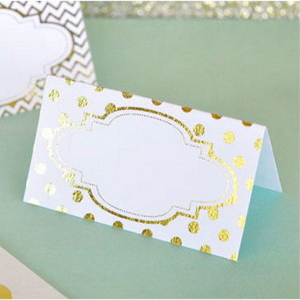 Metallic Gold Foil White Placecards (108)