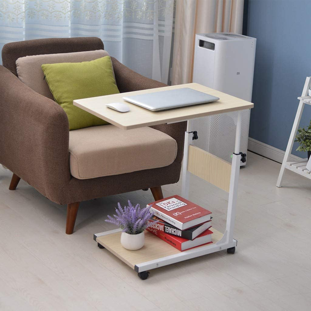 White Aimik Adjustable Laptop Stand Sofa Side Dining Snack Coffee Table Portable Cart Tray Side Table Studying Desk Workstation for Home Side Table with Wheels