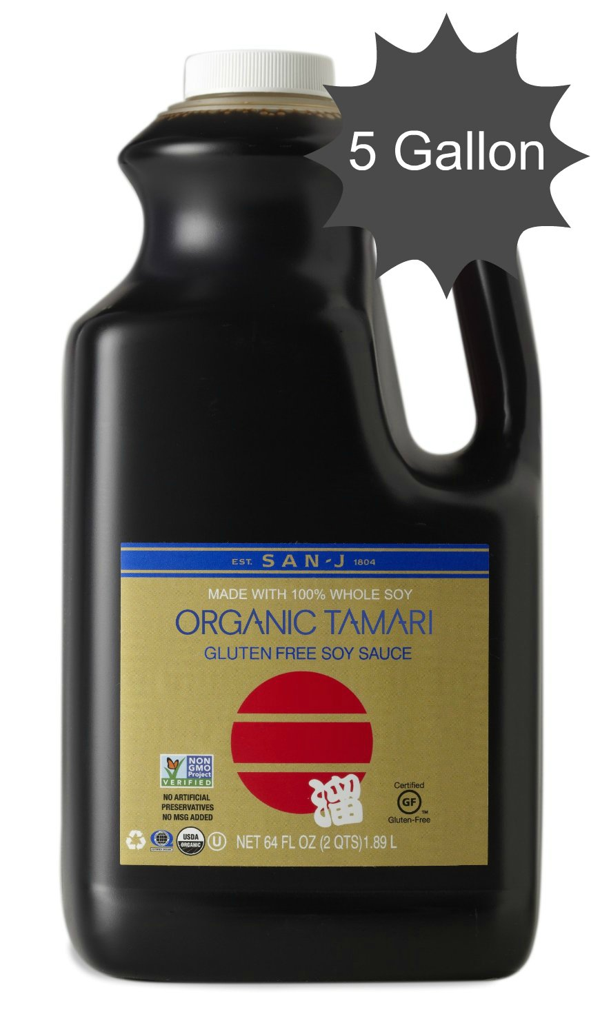San J Organic Gold Tamari Wheat Free Soy Sauce - 5 Gallon by San-J