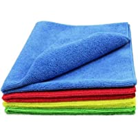 Reel Microfiber Cleaning Cloth - 5 pcs - 40x40 cms - 340 GSM Multicolor - Soft lint free quick dry multipurpose cleaning cloth - Automobiles & House cleaning wiping polishing detailing dusting towels