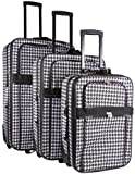 All-Season Vacation Expandable 3-Piece Upright Luggage Set – Black Houndstooth, Bags Central