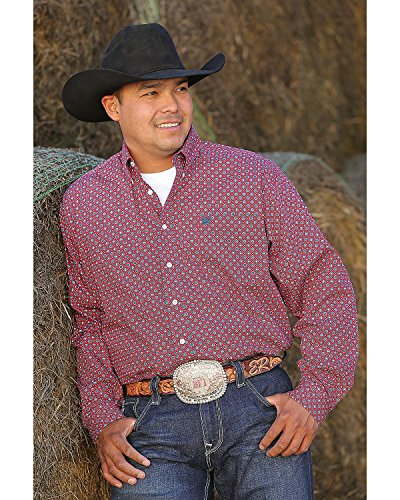Cinch Men's Classic Fit Long Sleeve Button One Open Pocket Print Shirt, Medallion red, XXL