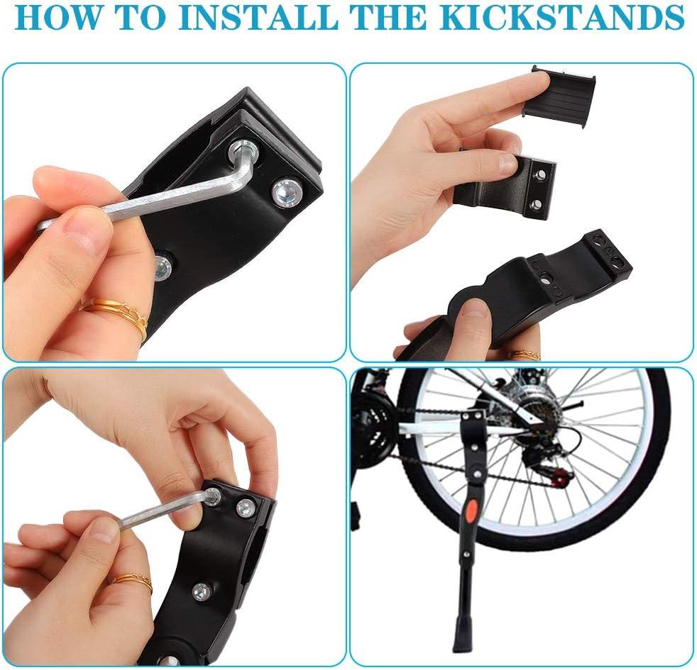 Tao Pipe Soporte para bicicleta aluminio, ajustable, soporte lateral, de aleaci/ón, perfecto para bicicleta de monta/ña de 22 a 26 pulgadas
