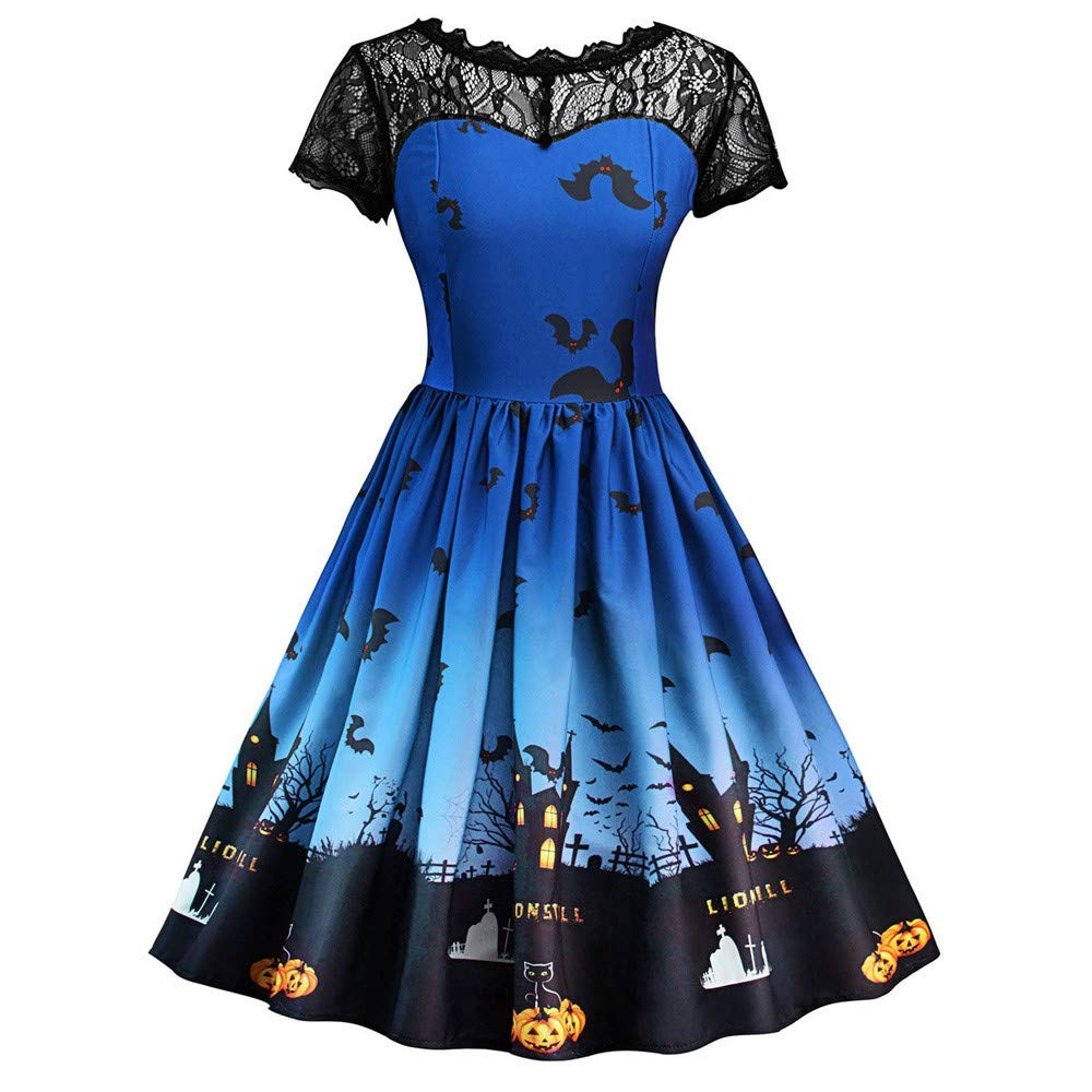 DEATU Ladies Dress, Teen Womens Halloween Lace Short Sleeve Vintage Gown Evening Party Fashion Dress (L, Sky Blue)
