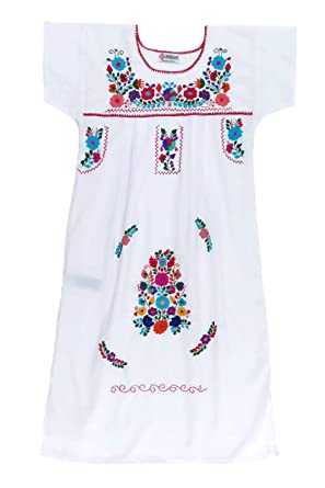 654f139cb Amazon.com: Mexican Clothing Co Girls Mexican Dress Traditional Tehuacan  Poplin CT S(8) White 9334: Clothing