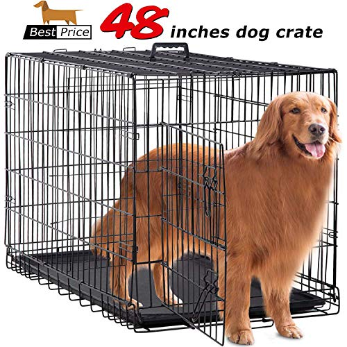 BestPet Large Dog Crate Cage Metal Wire Kennel Double-Door Folding Pet Animal Pet Cage with Plastic Tray and Handle,48""