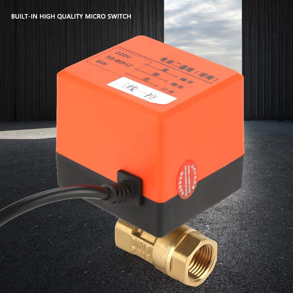 G1//2 DN15 AC220V 2-Way Electrical Valve 3-Wire 1-Point Control for Heating and Solar Heater Motorized Brass Ball Valve