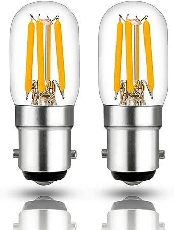 Hizashi 2.5W filamento Pigmeo bombilla LED, Equivalente de 60 vatios, B15, Blanca Cálida 2700K, bombilla LED para campana extractora y refrigerador, No Regulable, paquete de 2: Amazon.es: Iluminación