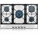 thermomate Gas Cooktop, 30 Inch Built In Gas Rangetop with 5 High Efficiency Burners, NG/LPG Convertible Stainless Steel…