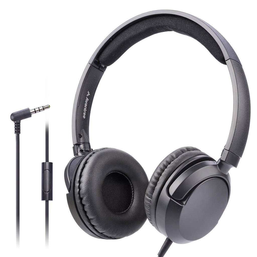 Avantree Superb Sound Wired On Ear Headphones with Microphone, 1.5M / 4.9FT Long Cord with Mic for Adults, Students, Kids, Comfortable Headsets for Computer, Laptop, Tablet, Phone - 026 Black by Avantree