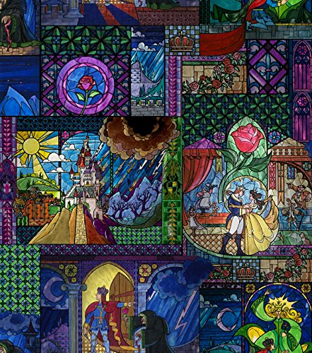 Disney® Beauty & The Beast Stained Glass ~ Cotton Fabric -