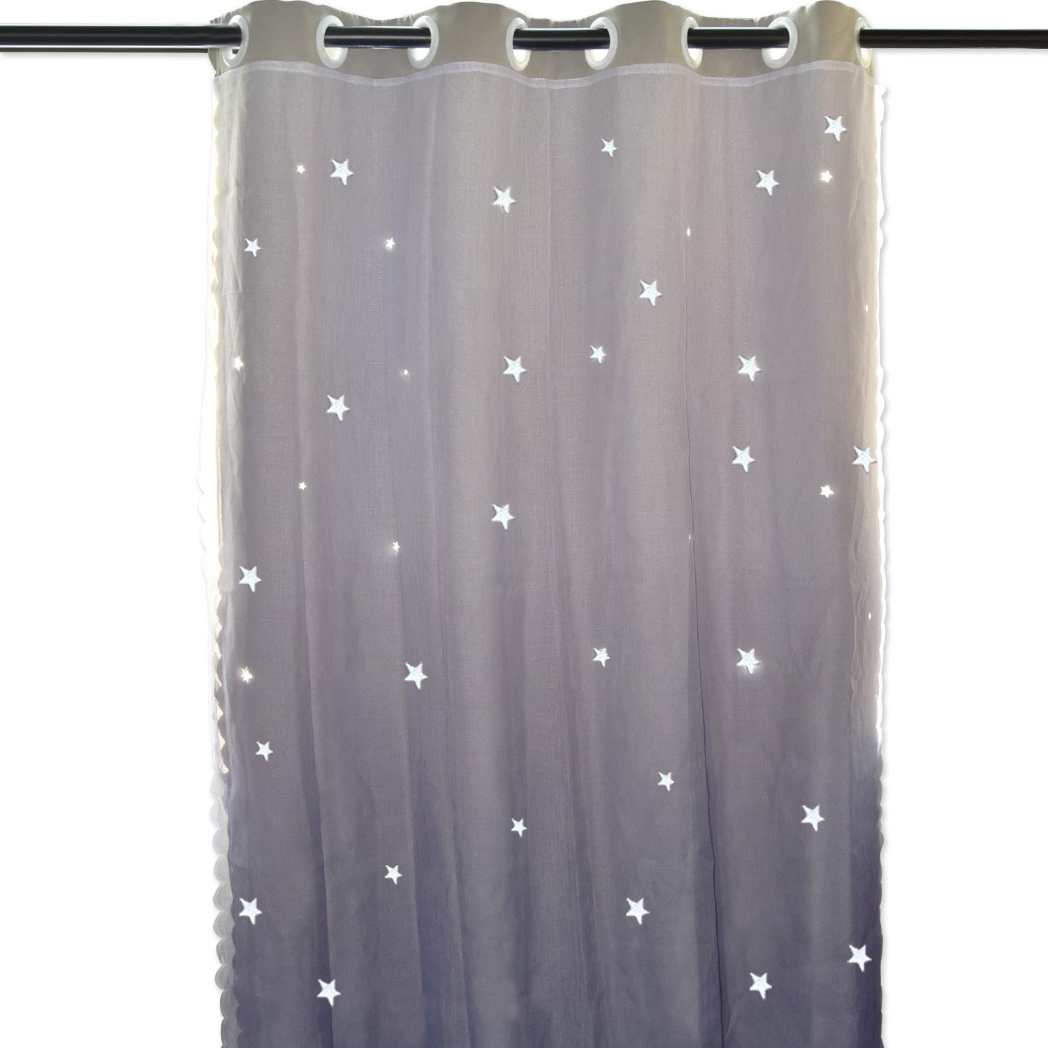 Hughapy Star Curtains Stars Blackout Curtains for Kids Girls Bedroom Living Room Double Layer Star Cut Out Sparkle Blackout Gradient Window Curtains, 1 Panel -(52W x 84L, Grey) by Hughapy