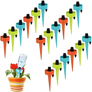 Adjustable Plant Waterer Self Watering Spikes with Slow Release Control Valve Switch,Automatic Watering Device Stake Vacation Houseplant Waterer Cone Flower Water Drip Bottle Irrigation System,Upgrade