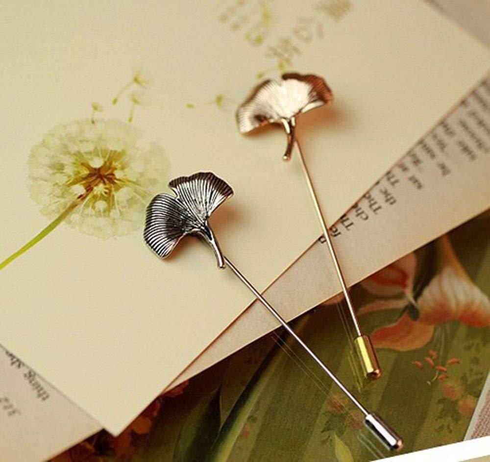 KUNQ Regalo Pareja/Regalo Navidad/Broche Broche Retro Retro Frescos Ginkgo Leaf Brooch Pin Aguja