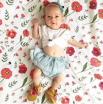 Lot de 2 Flamants roses et imprim/é Floral Wrap pour r/éception de la couverture de b/éb/é fille de douche Cadeau par Qav Juh Carr/és en mousseline de bambou Swaddle couvertures Flamants /& Floral