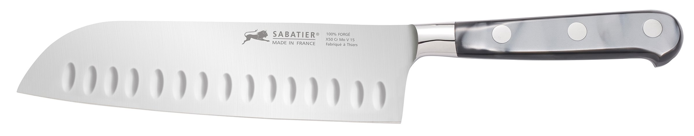 Sabatier Stainless Steel Santoku Knife with Mother of Pearl-Inspired Handle, 7-Inch