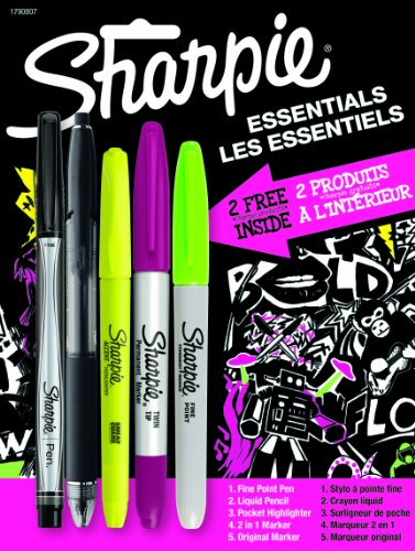 Sharpie Essentials Combination Marker, Pen and Highlighter Pack, Assorted (1790807) by Sharpie