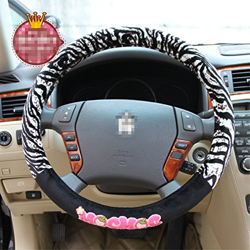 - Cartoon Diameter 15 inch Plush rubber Zebra stripes Steering wheel cover for Car decoration accessories for girls or boys