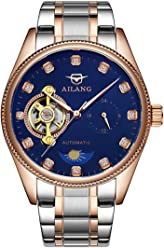 AILANG Mens Crystals Mechanical Tourbillon Moon Phase Stainless Steel Dress Watch AL-8503G (Rose