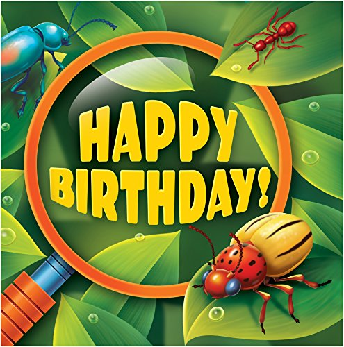 Creative Converting 16 Count Happy Birthday Bug-Eyed Lunch Napkins, - Lunch Bug