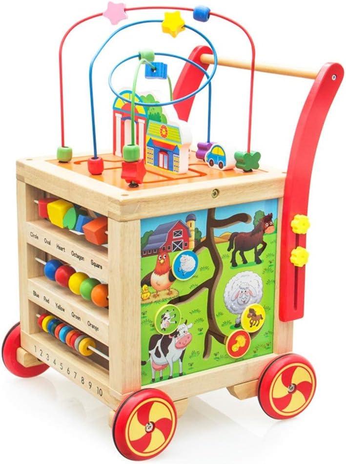 木製アクティビティキューブ 形状の木製の活動の幼児教育木製プレイキューブ短いビーズ迷路学習パズルのおもちゃ幼児の活動キューブウォーカー アクティビティキューブおもちゃ (Color : Multi-colored, Size : Free size)