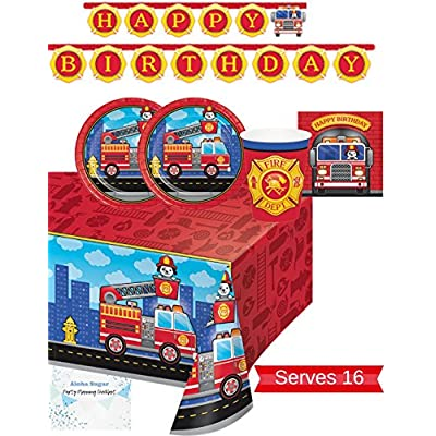 Fire Truck Party Supplies - Plates, Napkins, Cups, Tablecloth and Banner for 16 People - Firefighter Party Decorations - Perfect for Fireman Birthday Party!: Toys & Games