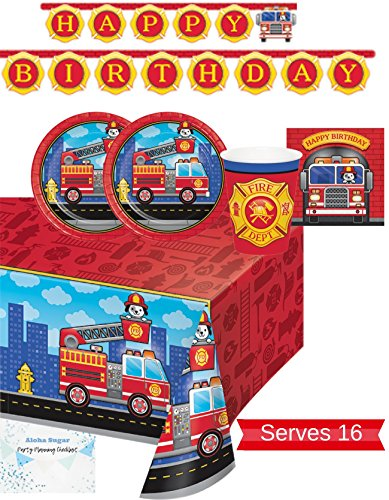 (Fire Truck Party Supplies - Plates, Napkins, Cups, Tablecloth and Banner for 16 People - Firefighter Party Decorations - Perfect for Fireman Birthday)