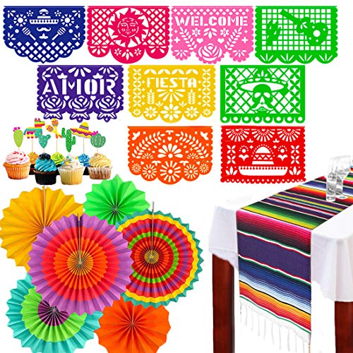 Mexican Fiesta Decorations Theme Party Supplies -Table Runner Large Felt Papel Picado Banner Cupcake Toppers Colorful Paper Fans Set for Birthday,Wedding, Festival, Christmas, Cinco De Mayo,Coco Party