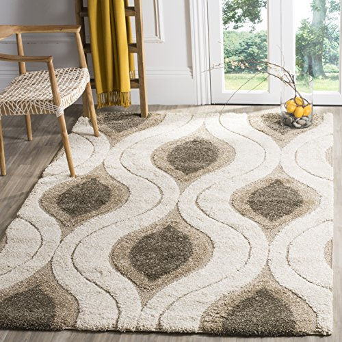 Safavieh Florida Shag Collection SG461-1179 Cream and Smoke Area Rug 4 x 6