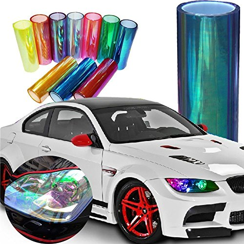 (LED LIGHT 12 by 48 inches Self Adhesive Shiny Chameleon Headlights Tail Lights Fog Lights Films,Film Sheet Sticker,Tint Vinyl Film (12 X 48 Bright Light Blue))