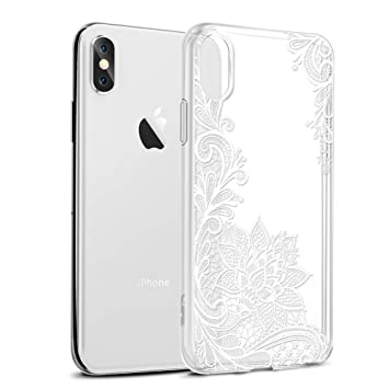3897d1c1b0 Eouine スマホケース iPhone Xs Max ケース 6.5インチ 対応 透かし彫り 花柄 クリア ソフト アイフォン